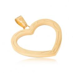 Prívesok z chirurgickej ocele zlatej farby, gravírovaná kontúra srdca