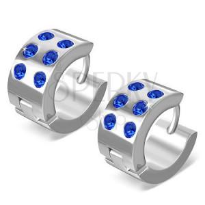 Okrúhle náušnice z chirugickej ocele - lesklé striebornej farby, modré zirkóny
