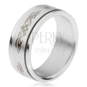 Oceľový prsteň, matná točiaca sa obruč s ornamentom