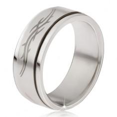 Prsteň z ocele - matná točiaca sa obruč, šedá potlač tribal motív