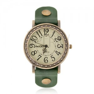 Náramkové hodinky - bledozelený ciferník, zelený remienok