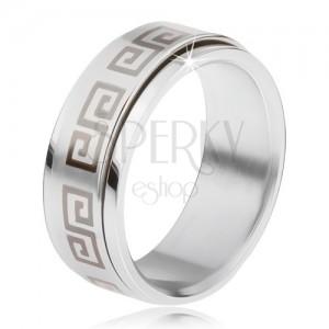 Oceľový prsteň, točiaca sa matná obruč, grécky kľúč sivej farby