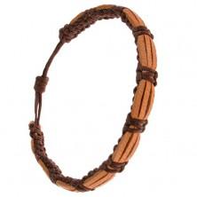 Náramok, čokoládovohnedý remienok, pieskovohnedé pásy kože
