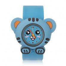 Náramkové hodinky modrej farby - tigrík, rolovací remienok