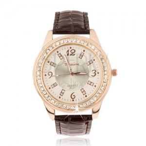 Oceľové hodinky zlatoružovej farby, lesklý hnedý remienok, zirkóny