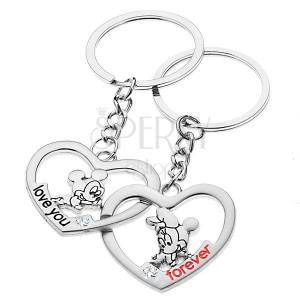 Kľúčenky pre dvojicu - Mickey a Minnie v srdciach  b17d74adc9e
