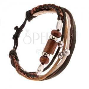 Multináramok, hnedo-čierny pletenec, valčeky z dreva a kovu, šnúrky