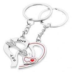 Šperky eshop - Kľúčenky pre dvoch - dve polovice srdca, šíp, srdiečka S28.22