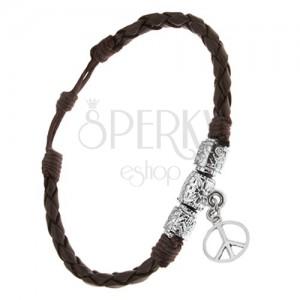Náramok - čokoládovohnedý pletenec, ozdobné valčeky, znak Peace