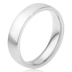 Lesklý oceľový prsteň striebornej farby, hladký povrch, 5 mm