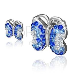 Oceľové náušnice, motýľ s modrými a čírymi kamienkami