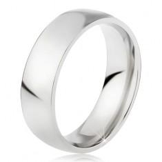 Oceľový prsteň s lesklým strieborným povrchom, 6 mm