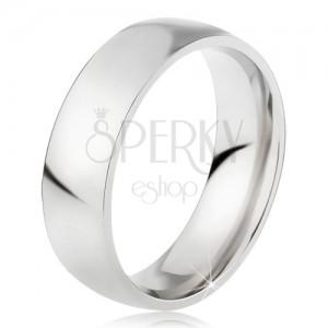 Oceľový prsteň s lesklým povrchom striebornej farby, 6 mm