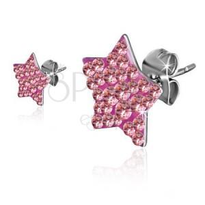 Náušnice z ocele - ružová zirkónová hviezda