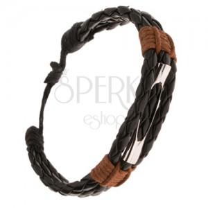 Náramok - tri pletené čierne prúžky, rúrka s výrezom, hnedá šnúrka