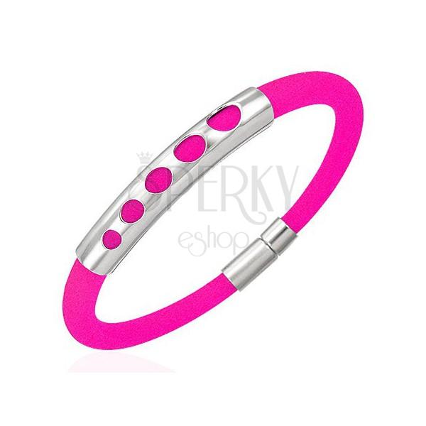 Kaučukový náramok - 5 zväčšujúcich kruhov, žiarivo ružový
