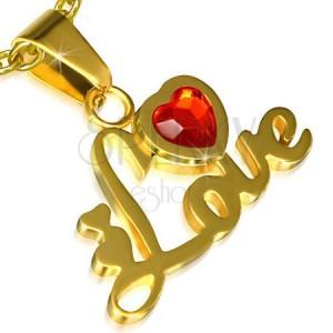 Oceľový prívesok zlatej farby, nápis Love, srdce, červený kamienok