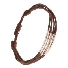 Šperky eshop - Šnúrkový multináramok čokoládovohnedej farby, rúrky so zárezmi S30.18