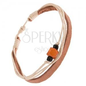 Náramok - pás kože farby khaki, šnúrky, korálky, oranžový valček