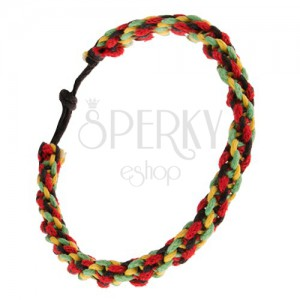 Špirálový náramok - červené, žlté, zelené a čierne šnúrky