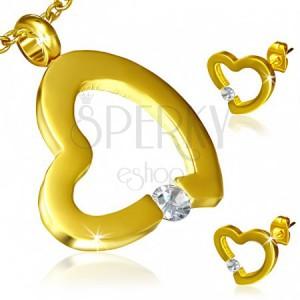 Sada z ocele zlatej farby - náušnice a prívesok, nepravidelný obrys srdca, zirkón