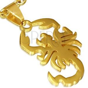 Oceľový prívesok, lesklý škorpión v zlatej farbe