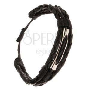 Náramok na ruku - tri čierne pletence, šnúrka, valček s výrezom