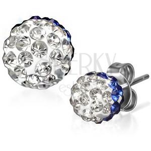 Ligotavé oceľové náušnice - modro-číre zirkónové guľôčky
