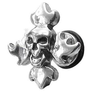 Falošný piercing lebka s plameňmi