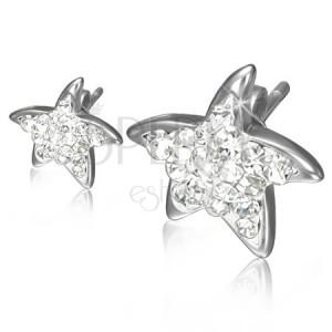Puzetové oceľové náušnice - číre zirkónové hviezdice
