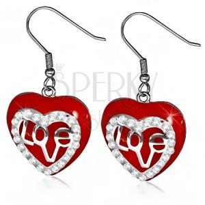 Náušnice z chirurgickej ocele - visiace červené srdce, číre zirkóny