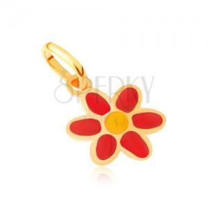 Zlatý prívesok 375 - lesklý plochý červeno-žltý glazúrovaný kvet