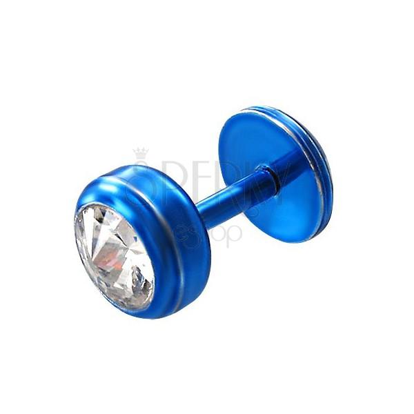 Piercing do brady z ocele modrej farby - okrúhly zirkón v čírom odtieni