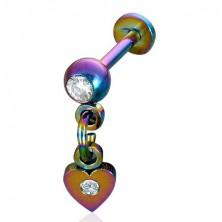Piercing Labret anodizovaná oceľ prívesok srdce