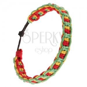 Šnúrkový náramok, vodorovné a zvislé línie červenej, žltej a zelenej farby