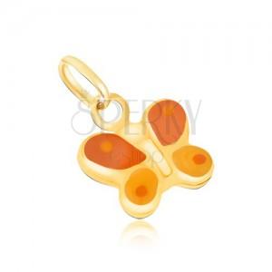 Zlatý prívesok 375 - trojrozmerný oranžovo-žltý motýlik, lesklá glazúra