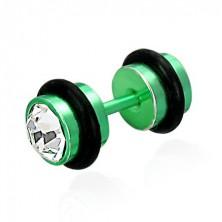 Falošný piercing v zelenom farebnom prevedení - brúsené číre zirkóny, čierne gumičky