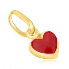 42d2d9dd3 Šperky eshop - Lesklý zlatý prívesok 375 - drobné vypuklé červené srdiečko,  email GG06.