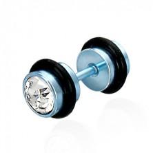 Falošný piercing v modrom farebnom prevedení - brúsené číre zirkóny, čierne gumičky