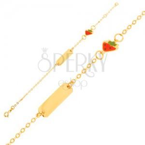 Zlatý náramok 375 - retiazka s lesklou platničkou, prívesok jahôdky s emailom