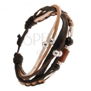 Multináramok - hnedo-čierny pletenec z kože, valčeky z dreva a kovu, šnúrky