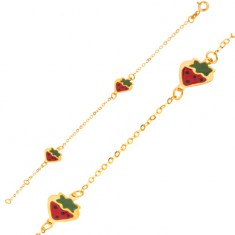 Šperky eshop - Zlatý náramok 375 - trblietavá retiazka s glazúrovanými farebnými jahôdkami GG06.41