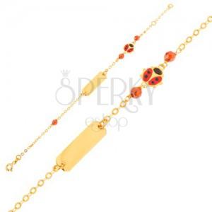 Zlatý náramok 375 - retiazka, platnička, červeno-čierna lienka, hnedé korálky