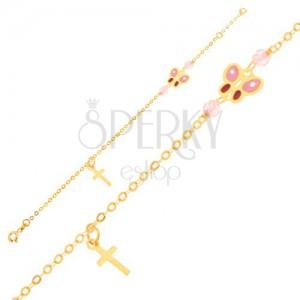 Zlatý náramok 375 - ligotavá retiazka, krížik, glazúrovaný motýľ, korálky