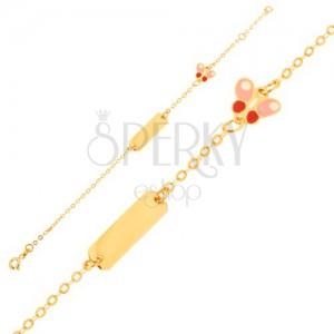 Zlatý náramok 375 - ligotavá retiazka, podlhovastá platnička, motýlik, email