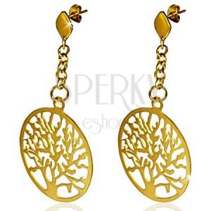 Oceľové náušnice zlatej farby, vyrezávaný kruh so stromom, retiazka