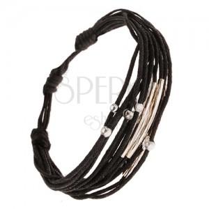 Čierny šnúrkový multináramok, lesklé guličky, ryhované rúrky