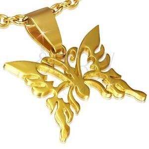 Prívesok z ocele zlatej farby, lesklý vyrezávaný motýľ