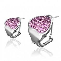 Oceľové klipsové náušnice, ružové zirkónové srdce