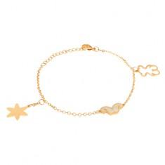 Šperky eshop - Oceľový náramok zlatej farby, kontúra medvedíka, hviezda, fúziky S34.28
